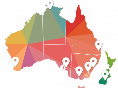 map of Australia with pointed cities that have ACRS chapters